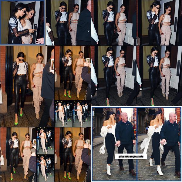 - ''30.04.17'-''─''Kendall Jenner quittait alors le « Mercer Hotel » en compagnie de la jolie Bella Hadid à New York ![/s#00000ize]Elles se sont ensuite rendues à la soirée d'anniversaire de Travis Scott avec Hailey Baldwin, Cara Delevingne, Anwar Hadid et Kylie Jenner entre autre. -