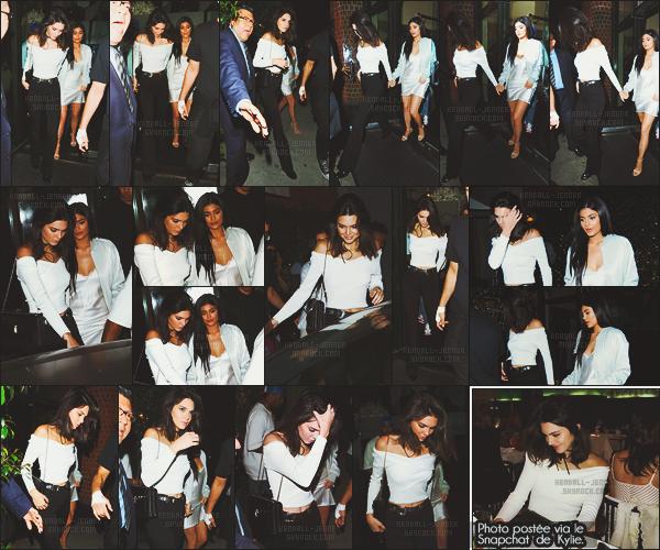 - -• 16/06/16- : Kendall Jenner et sa petite soeur K. se sont rendues dîner au restaurant chinois « Mr Chow » à Los Angeles.    Les deux Jenners ont donc décidé de passer du temps ensemble ! Kylie a d'ailleurs partagé une photo de leur soirée sur son compte Snapchat. Jolies ! -
