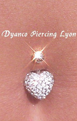 Piercing nombril coeur crystal