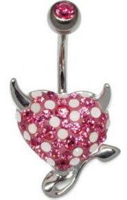 Piercing Haut de Gamme Crystal Evolution aux strass Swarovski Piercing nombril crystal evolution coeur de diable