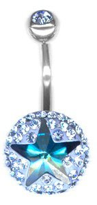 Piercing Haut de Gamme Crystal Evolution aux strass Swarovski Piercing nombril crystal evolution star BC