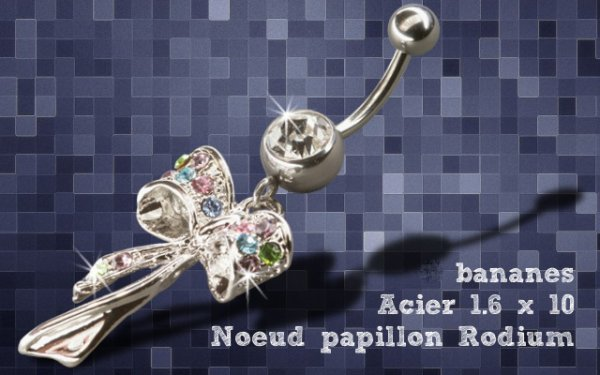 Piercing nombril noeud papillon cristal