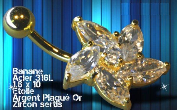 Piercing nombril fleur argent et or