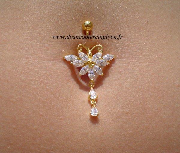 Piercing nombril fleur argent et or pendentif