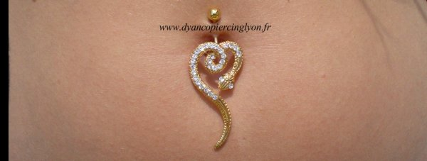 Piercing nombril serpent anodisé or