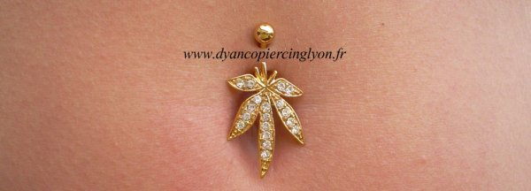 Piercing nombril cannabis anodisé or