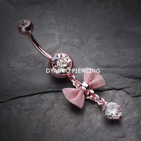 Piercing nombril n½ud papillon rose