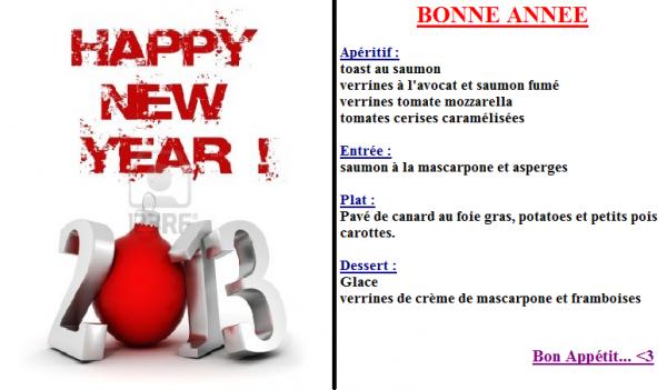 Repas de Nouvel An 2013 :)