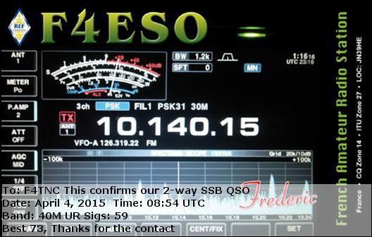 QSL du Dept 57  sur 40M