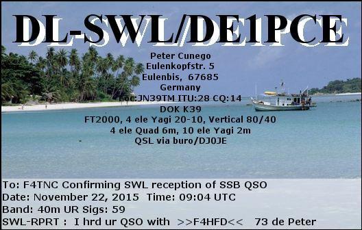 QSL  d'un SWL  Allemagne