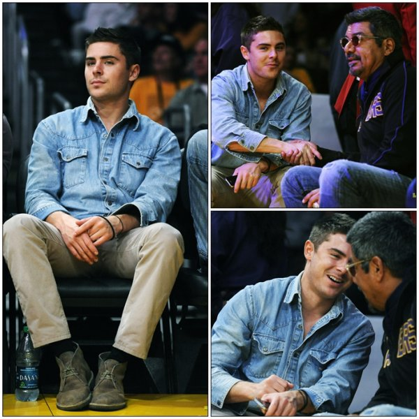Zac a un match des Lakers au Staple Center de L.A  --- Ca faisait longtemps !!!