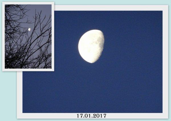 ciel clair ce matin , on voit bien madame la lune lol