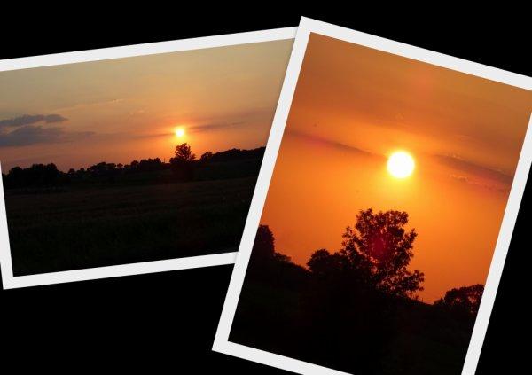 petite pose photo du coucher de soleil dans un village du 49