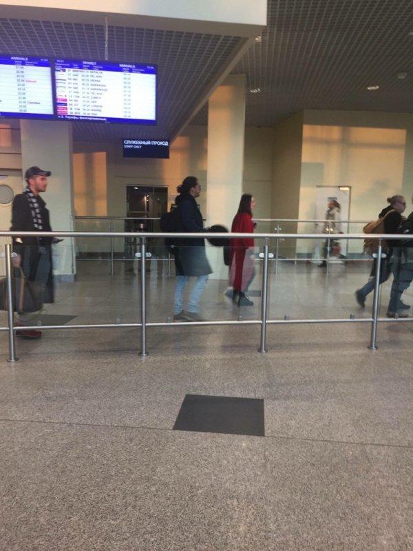 Le groupe arrivant en Russie