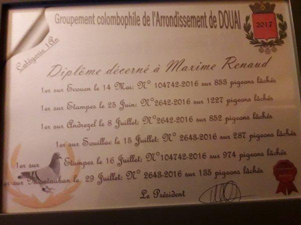 Récompense des premiers prix Arrondissement Douai