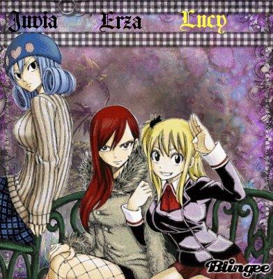 J'adore trop Mirajane Erza Lucy Wendu ce sont mes personnages préférer dans fairy taill fille