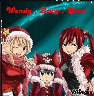 Suite de j'adore trop Mirajane Erza Lucy et Wendy ce sont mes personnages préférer dans fairy tail fille