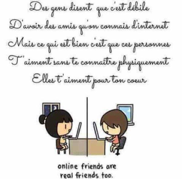 Des gens disent que c'est débile d'avoir des amis qu'on connais d'internet