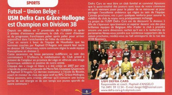 USM Defra Cars Grâce-Hollogne accède à la D2 URBSFA: Venez nous supporter, devenez notre partenaire !  Article paru dans: Magazine Grâce-Hollogne, 2e trimestre 2012-n°50, p.6.