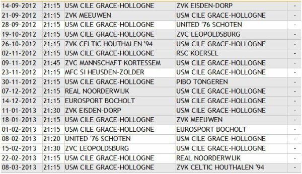 Calendrier 2012-2013 (les Espoirs jouent toujours 1h15 avant l'équipe première)