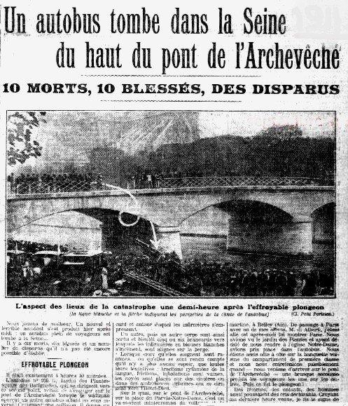 LA CATASTROPHE DU PONT DE L'ARCHEVECHE