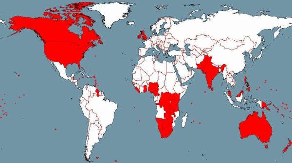 Régions du monde où l'anglais est la langue courante :
