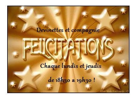 """Tableau d'honneur des champions de """"Devinettes et compagnie"""""""