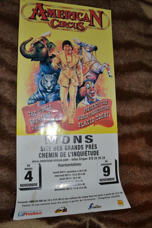 Affiche American Circus Togni à Mons Belgique en 2003