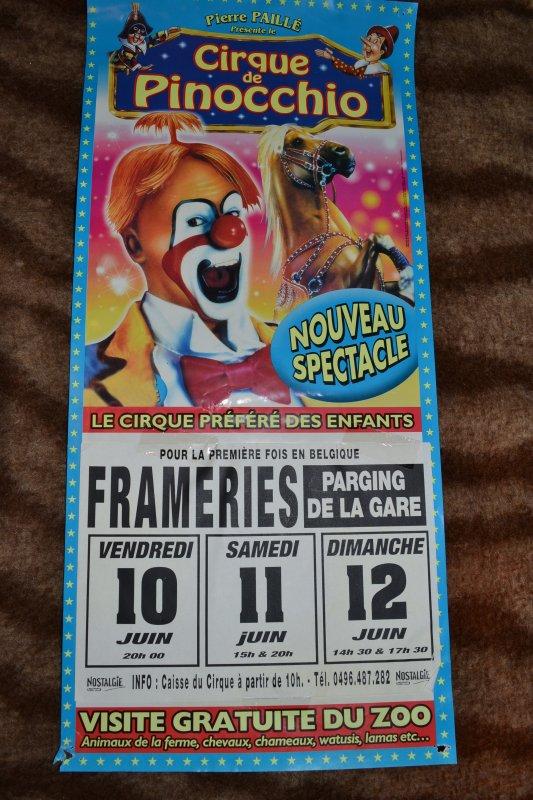 Cirque de Pinocchio (Pierre Paillé) Belgique, n'existe plus