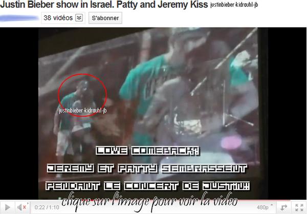14.04.2011 - Jeremy et Patty s'embrassent en live pendant le concert en Israel de leur fils Justin Bieber !!!