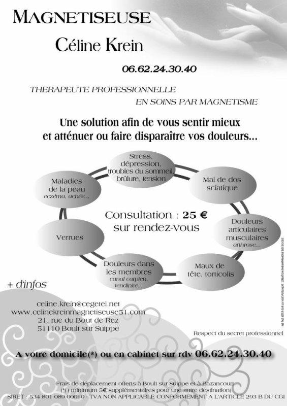 """Thérapeute professionnelle en soins par magnétisme, tract publicitaire réalisé par """"http://telesecretariatmotamotadomicile.unblog.fr"""