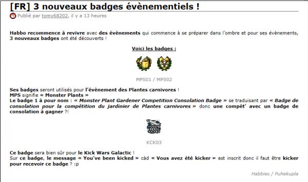 Nouveaux Badges Découverts !