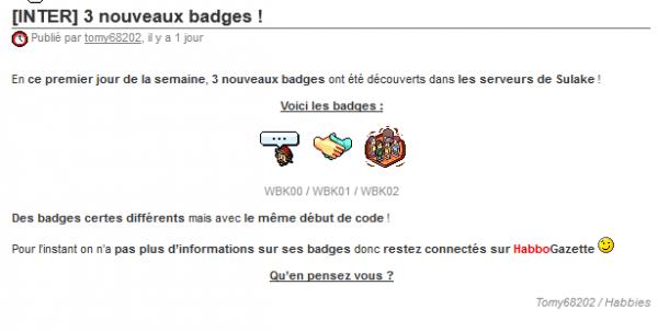 Nouveaux Badges !