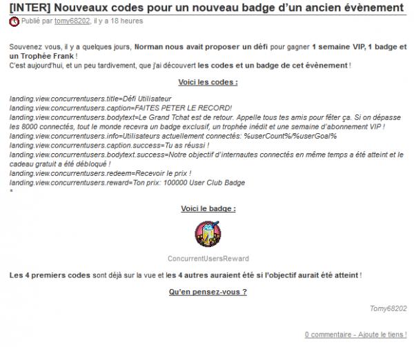 Nouveaux codes pour un nouveau badge d'un ancien évènement