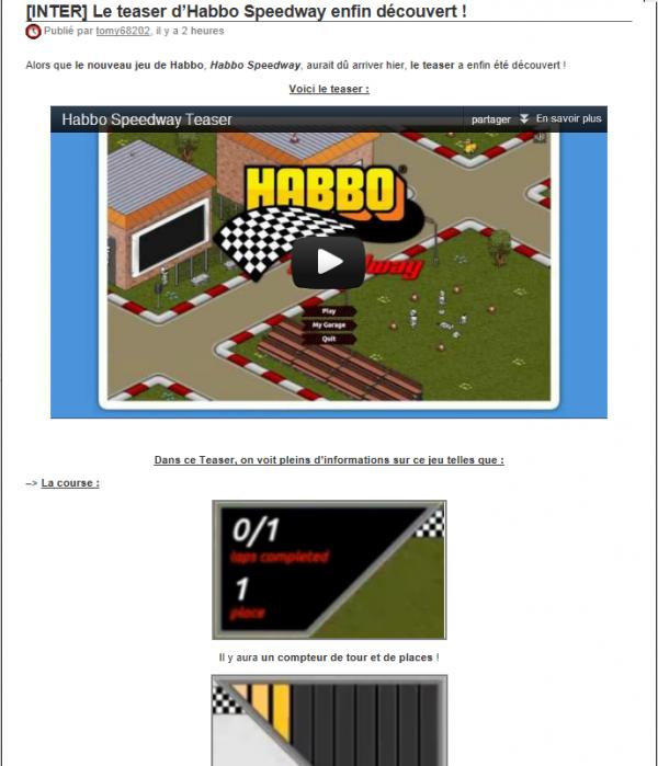 Le teaser d'Habbo Speedway enfin découvert !