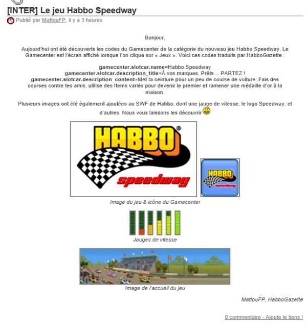 Nouvelles Images Du Habbo SpeedWay !