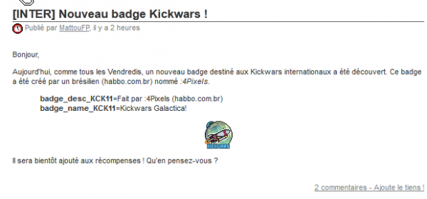 Nouveau Badge KickWars !