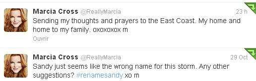 Marcia s'exprime a propos de l'ouragan Sandy