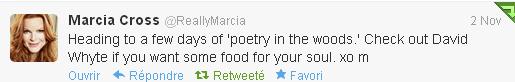 Tweet de Marcia du 2 novembre 2012