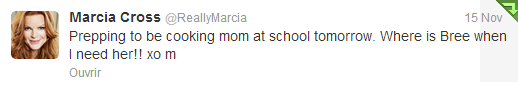 Tweet de Marcia du 15 novembre