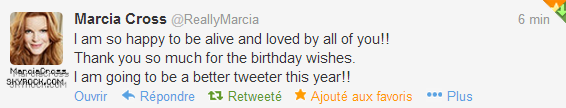 . Tweet: 25/03/13 Marcia remercie ses fans!