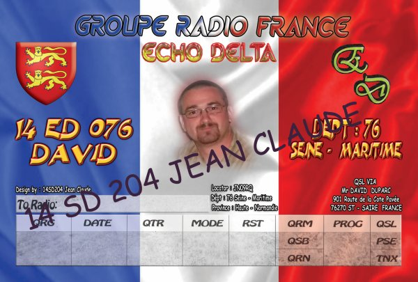 QSL ELECTRONIQUE DE 14ED076 DAVID