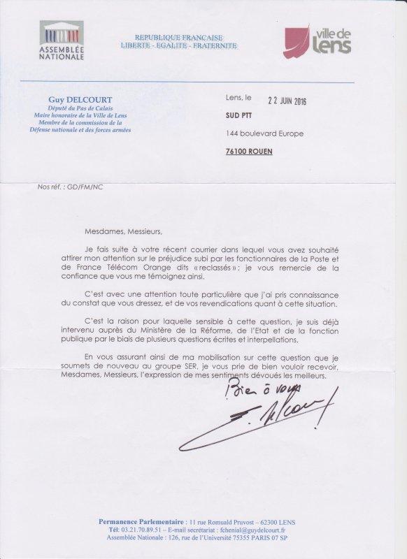 Reclassé(e)s PTT : Guy DELCOURT Député du Pas de Calais