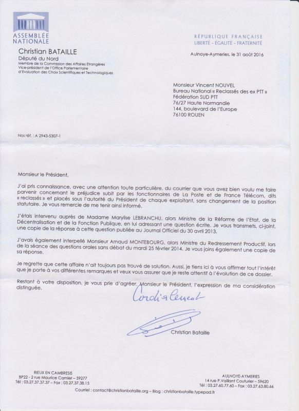 Reclassé(e)s PTT : Christian BATAILLE Député du Nord