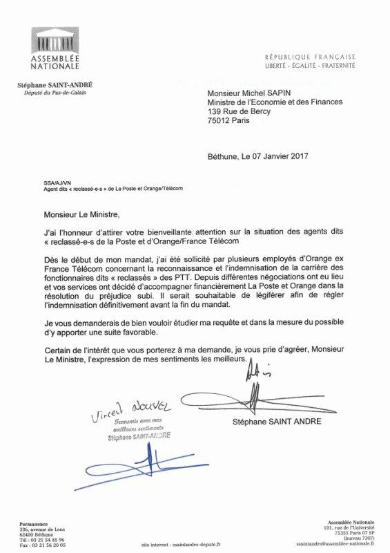 Reclassés ptt : Stéphane Saint André (Député 62-PRG) vers le Ministre du Budget Michel Sapin