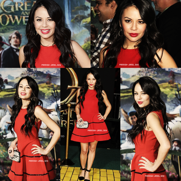 . 13 FEVRIER 2013 : Janel était à l'avant-première du nouveau film de WaltDisney Oz the great and powerful.