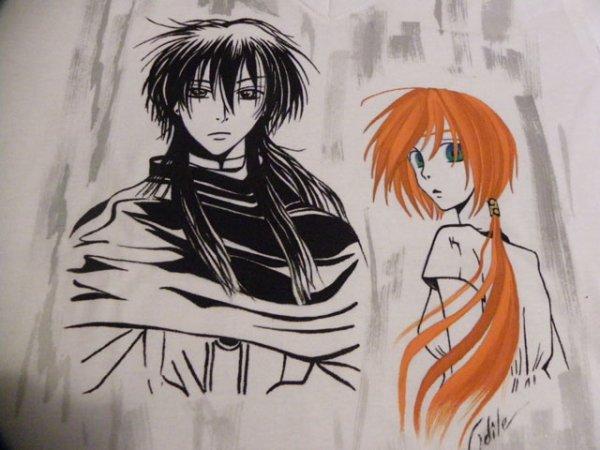 Manga sur Tee shirt fait par Odile