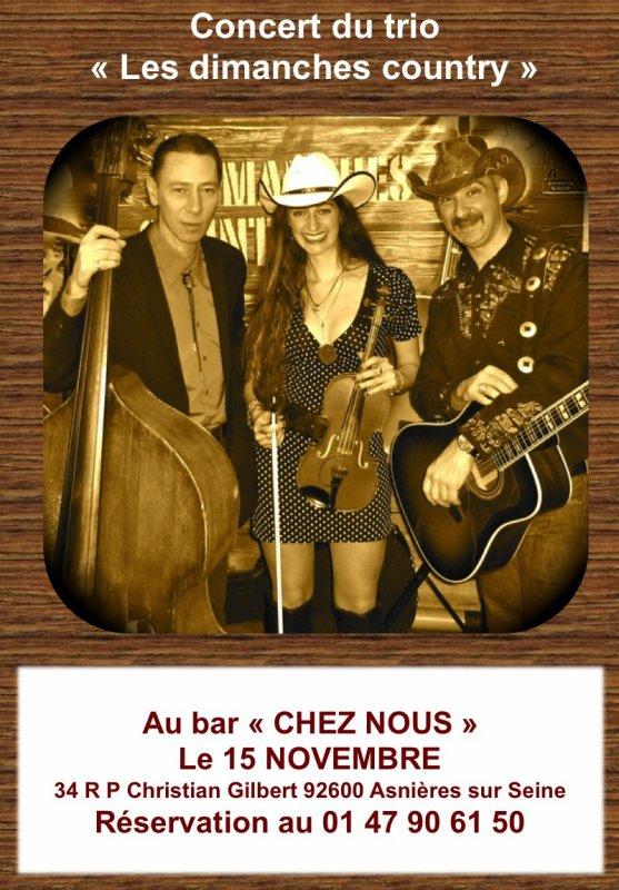 """Concert en trio des """"Les dimanches country"""" le 15novembre 2013"""