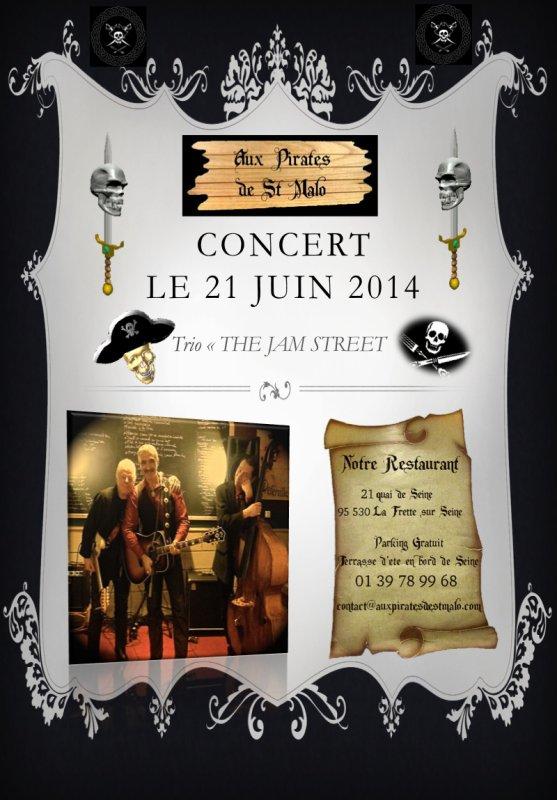 CONCERT 21 JUIN en trio pour faire la fête chez les pirates...