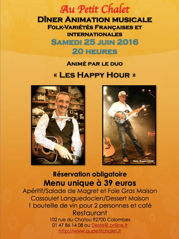 """Dîner-concert le 25 juin au restaurant """"Au Petit Chalet"""" de Colombes"""